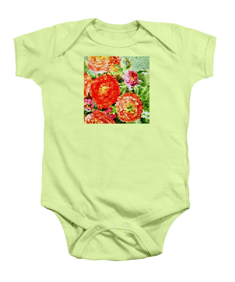 Abstract Baby Onesie featuring the painting Abstract Flowers by Irina Sztukowski