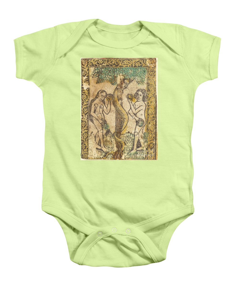 Baby Onesie featuring the drawing Adam And Eve by Workshop Of Master Of The Borders With The Four Fathers Of The Church
