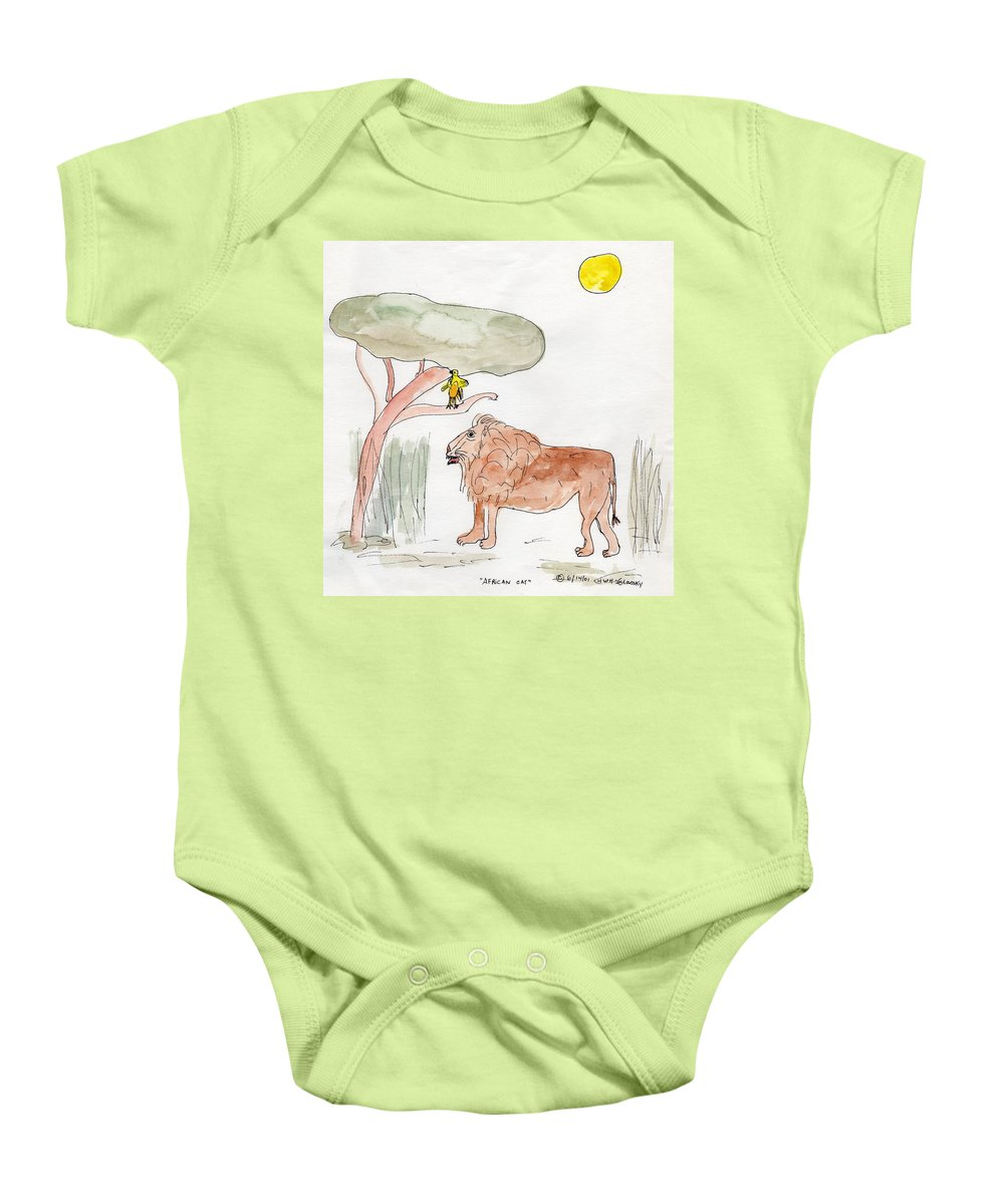 African Plains Baby Onesie featuring the painting African Cat by Helen Holden-Gladsky