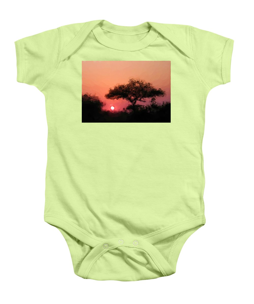 Digital Photography Baby Onesie featuring the photograph African Sunset by David Lane