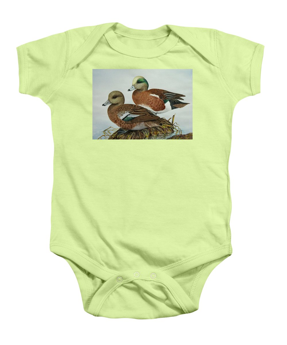 Ducks Baby Onesie featuring the painting American Widgeons by Elaine Booth-Kallweit