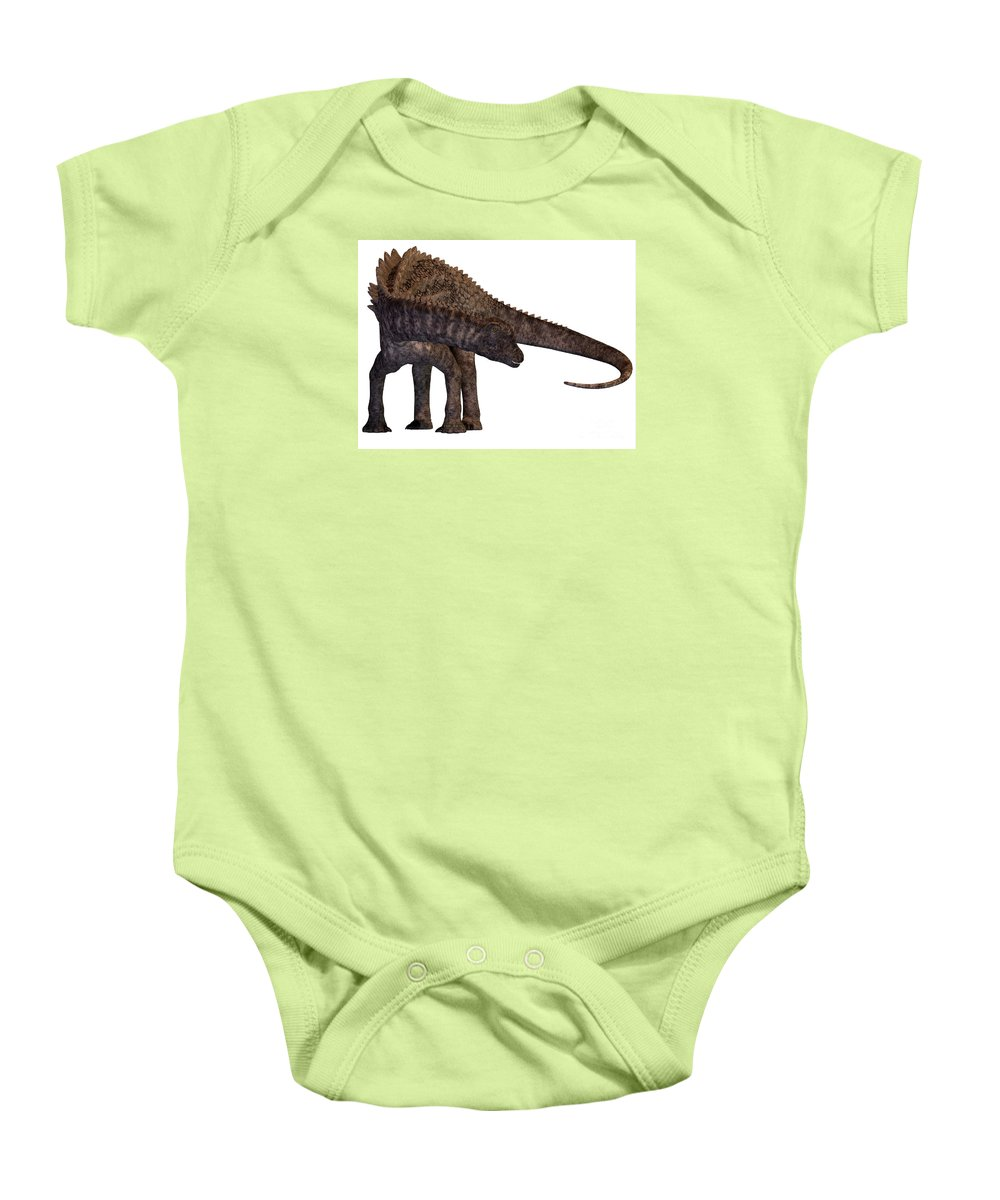 Ampelosaurus Baby Onesie featuring the painting Ampelosaurus Armored Dinosaur by Corey Ford