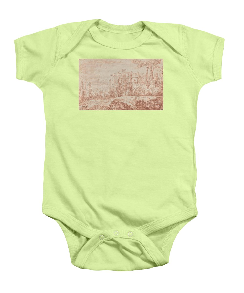 Baby Onesie featuring the drawing An Italian Walled Town Seen Through Trees by Fran?ois Le Moyne