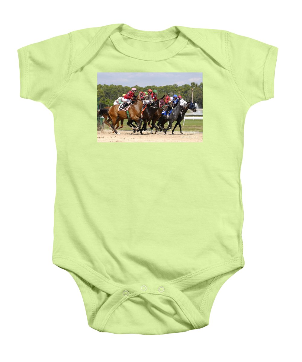 Horse Racing Baby Onesie featuring the photograph And Their Off by David Lee Thompson