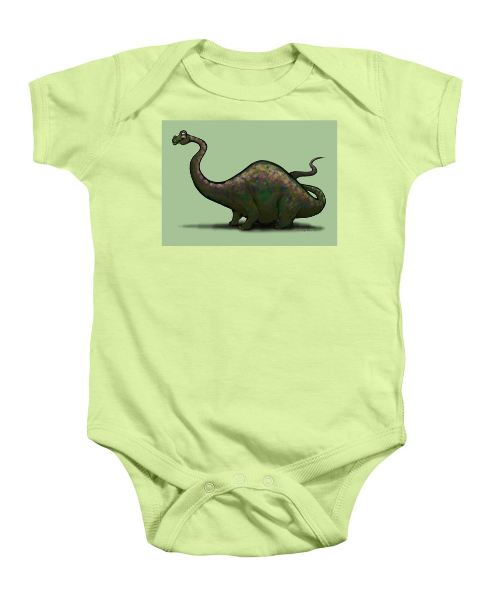Apatosaurus Baby Onesie featuring the greeting card Apatosaurus by Kevin Middleton