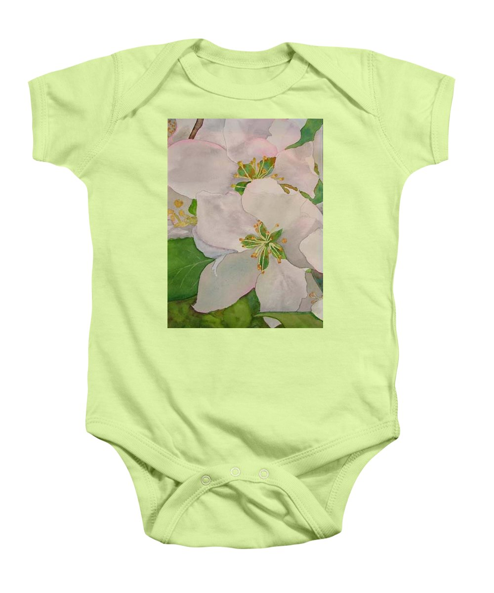 Apple Blossoms Baby Onesie featuring the painting Apple Blossoms by Sharon E Allen