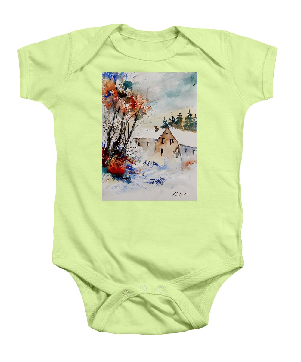 Winter Baby Onesie featuring the painting Aqua 905070 by Pol Ledent
