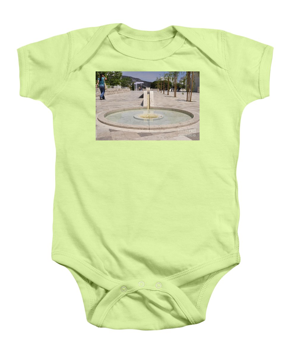 Clay Baby Onesie featuring the photograph Architecture At The Getty by Clayton Bruster