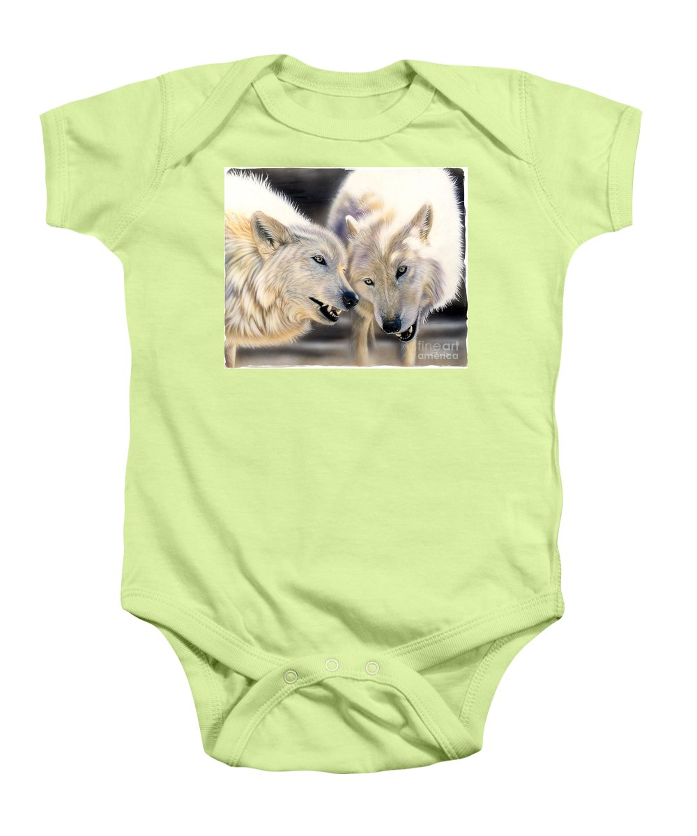 Acrylics Baby Onesie featuring the painting Arctic Pair by Sandi Baker