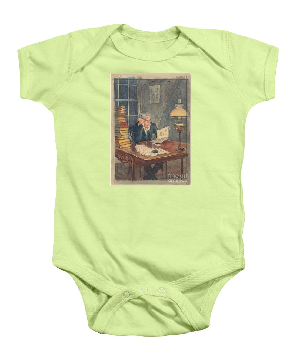 Edmund J. Sullivan 1869-1933 As I Read Over The Lives Of These Robbers And Pickpockets Baby Onesie featuring the painting As I Read Over The Lives Of These Robbers And Pickpockets by Celestial Images