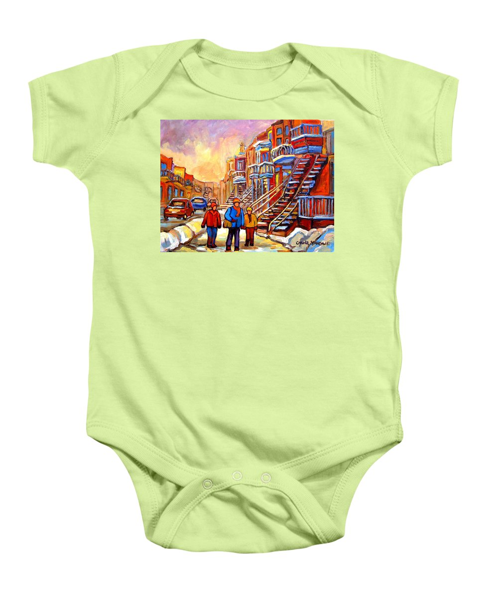 At The End Of The Day Baby Onesie featuring the painting At The End Of The Day by Carole Spandau
