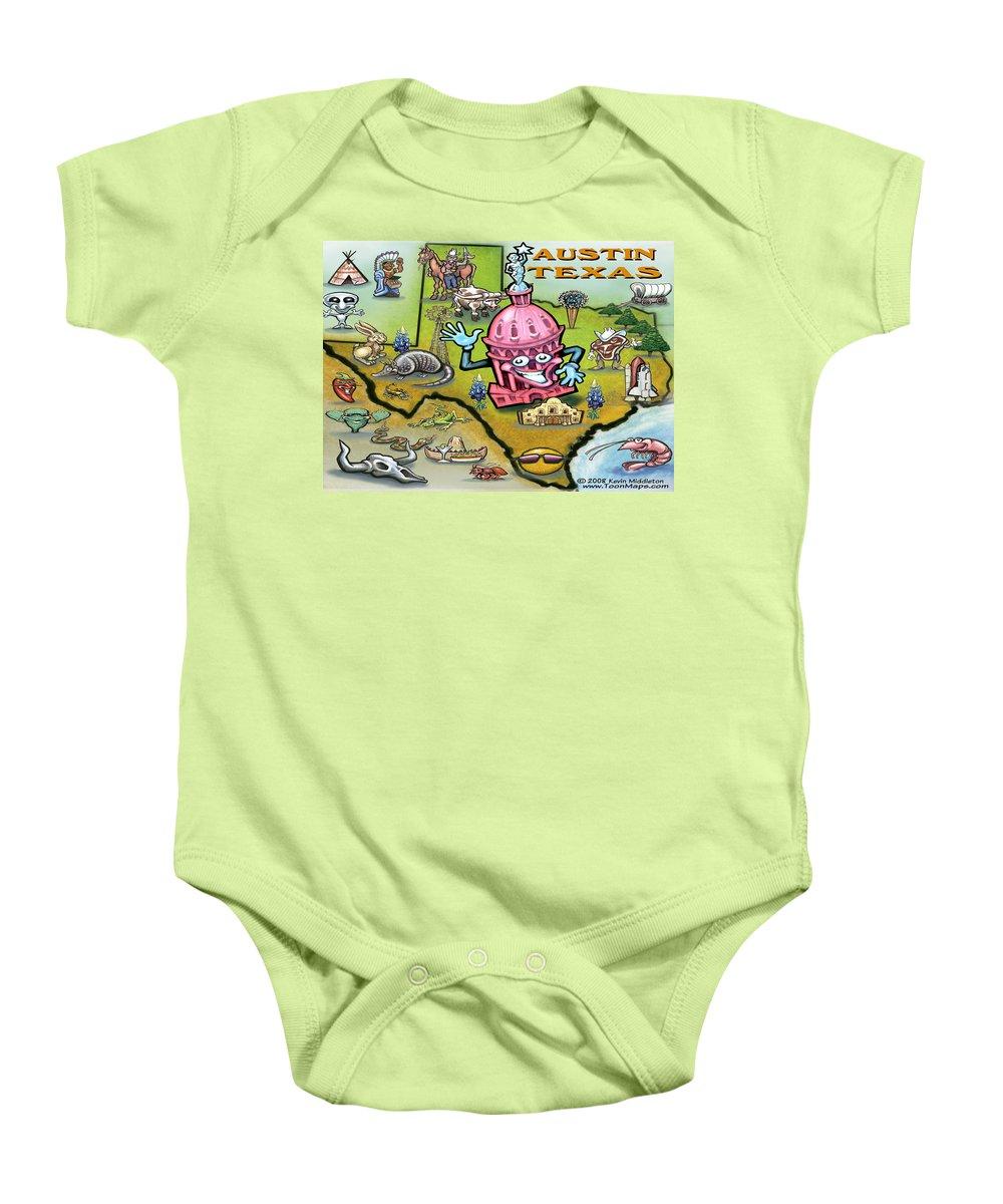 Austin Baby Onesie featuring the digital art Austin Texas Cartoon Map by Kevin Middleton