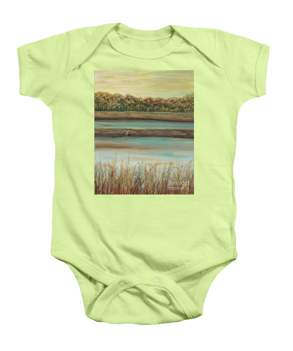 Bird Baby Onesie featuring the painting Autumn Marsh And Bird by Nadine Rippelmeyer