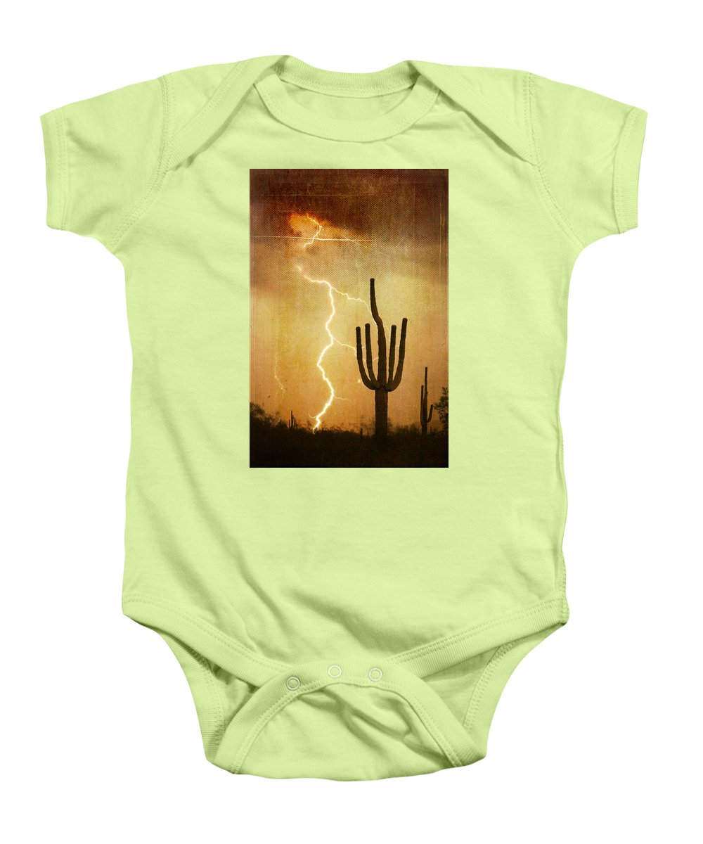 Arizona Baby Onesie featuring the photograph Az Saguaro Lightning Storm V by James BO Insogna