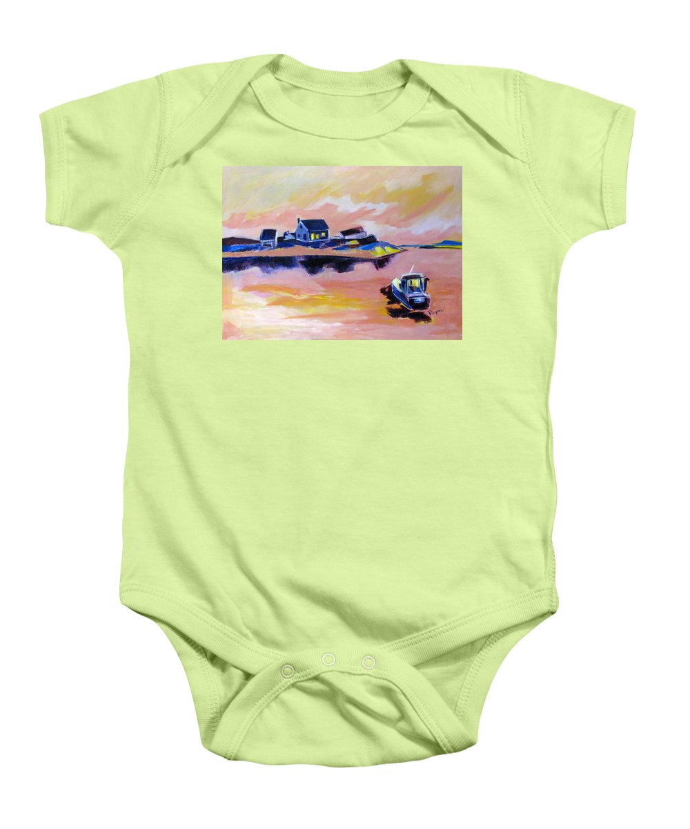 Back Bay Baby Onesie featuring the painting Back Bay by Betty Pieper