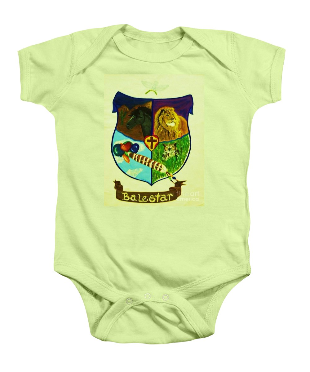 Lion Baby Onesie featuring the painting Balestar Crest by Jamey Balester