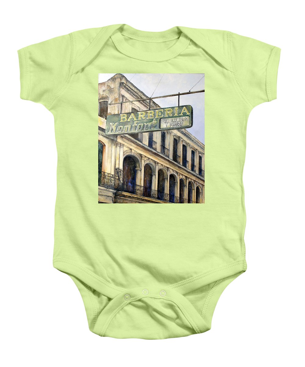 Konfort Barberia Old Havana Cuba Oil Painting Art Urban Cityscape Baby Onesie featuring the painting Barberia Konfort by Tomas Castano