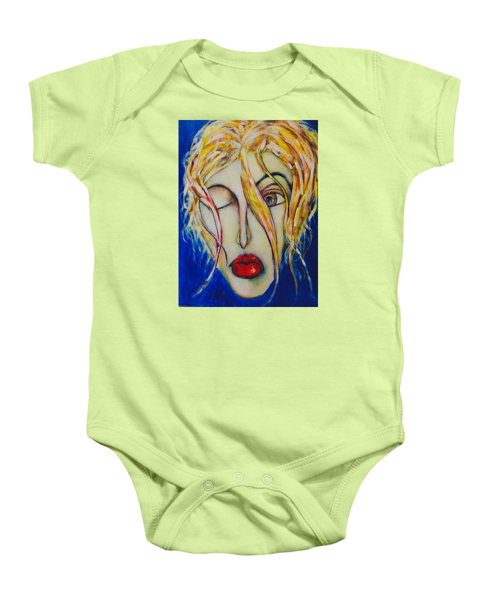 Female Baby Onesie featuring the painting Barfly Morning by Jim Hutchinson