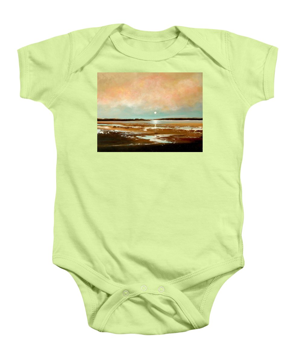 Beach Baby Onesie featuring the painting Beach Reflections by Toni Grote