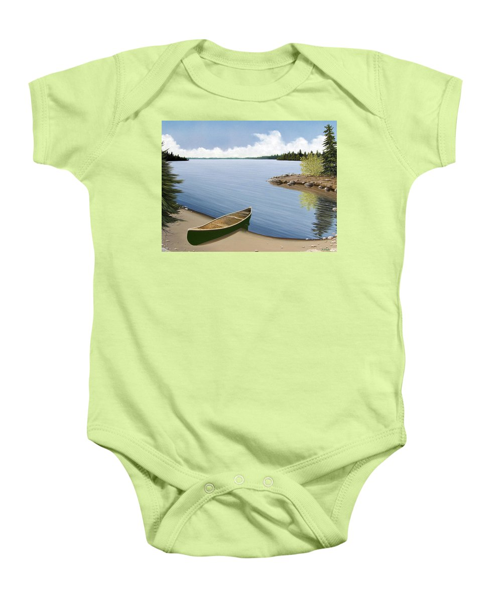 Canoe Baby Onesie featuring the painting Beached In Ontario by Kenneth M Kirsch