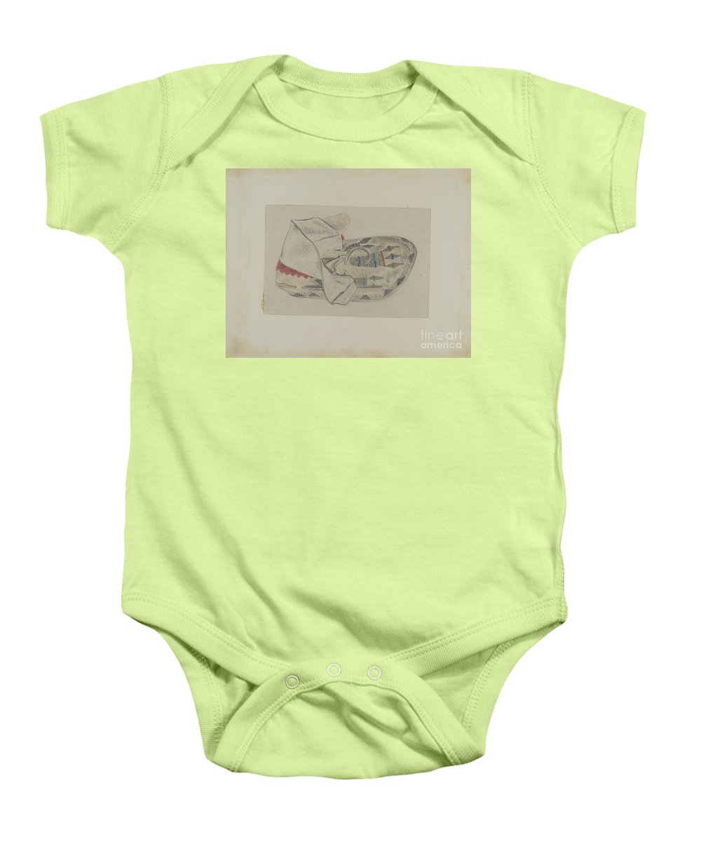 Baby Onesie featuring the drawing Beaded Moccasin by Melita Hofmann