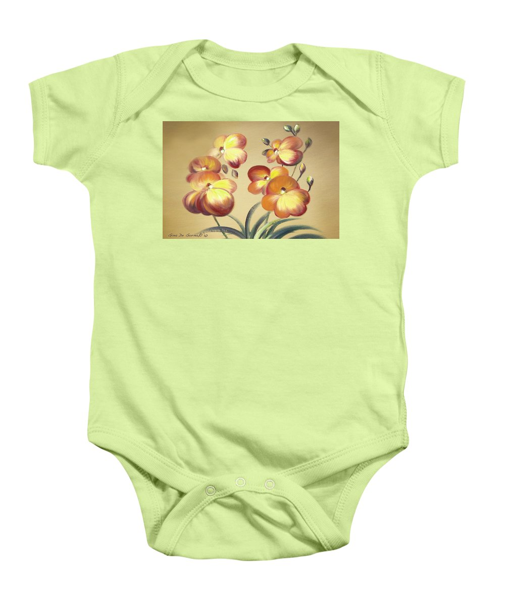Orange Baby Onesie featuring the painting Beautiful Orchid Flowers by Gina De Gorna