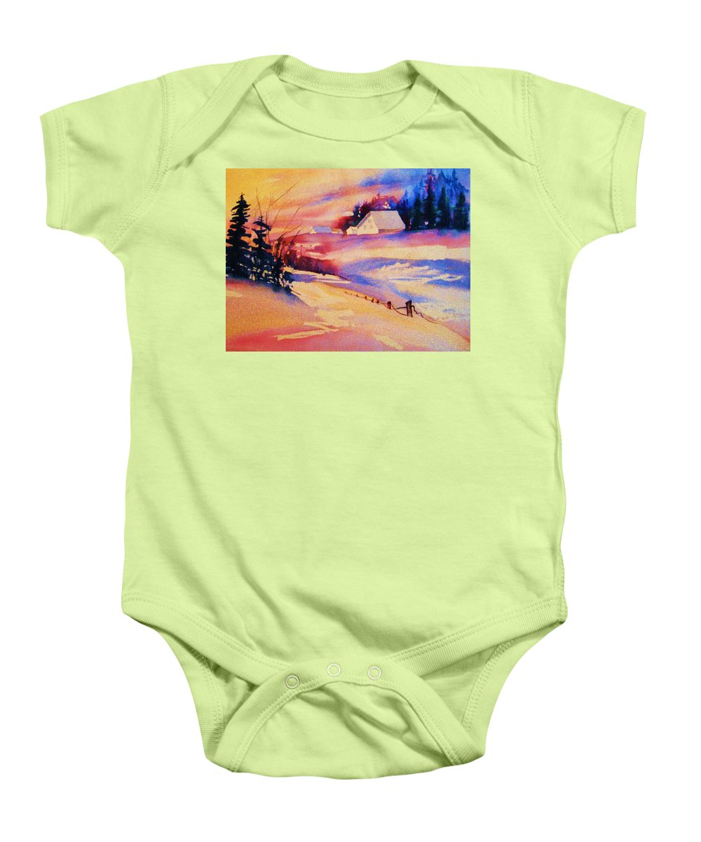 Winterscene Baby Onesie featuring the painting Beautiful Serenity by Carole Spandau