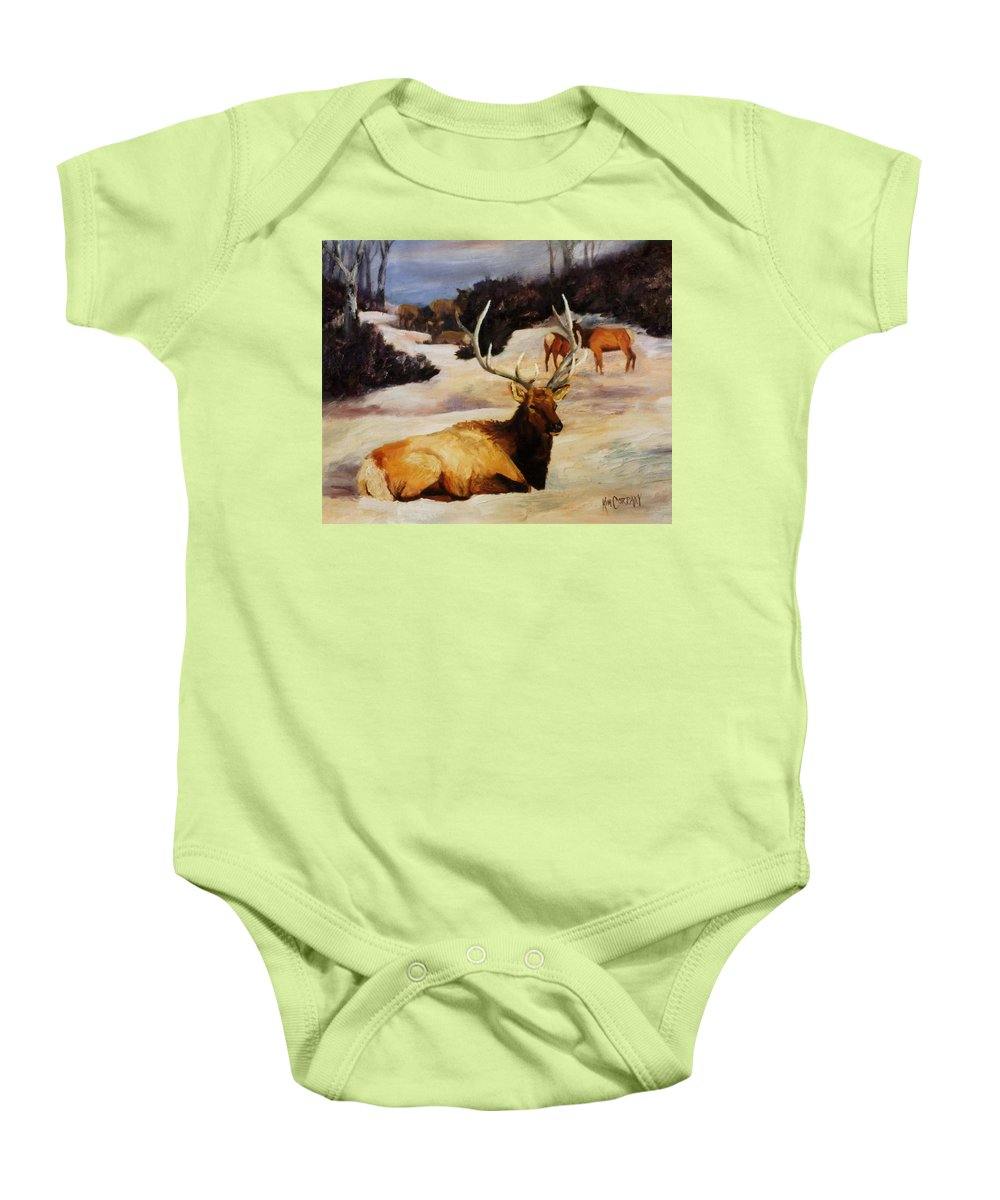 Bull Baby Onesie featuring the painting Bedded Down  Bull Elk In Snow by Kim Corpany