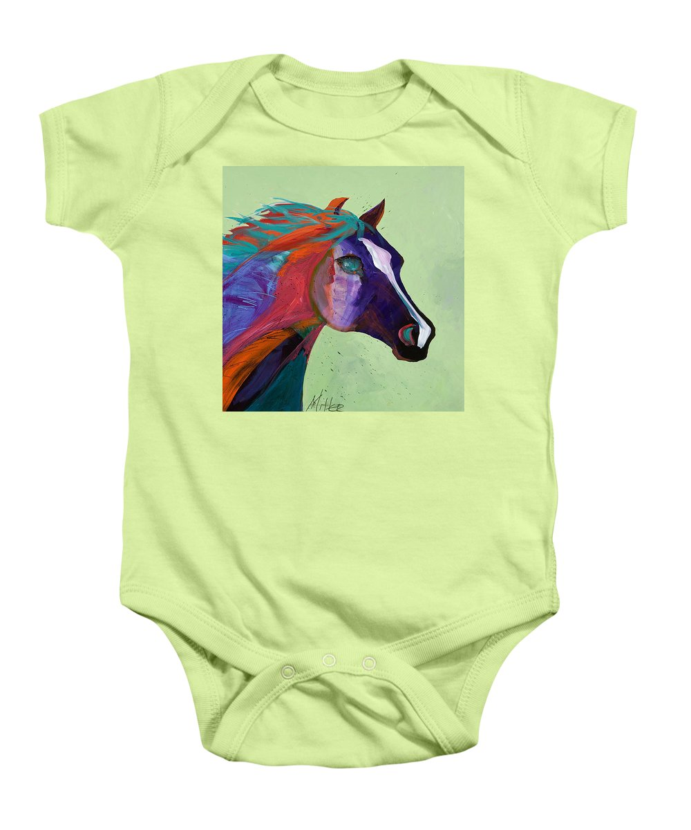 Horse Baby Onesie featuring the painting Bella by Tracy Miller