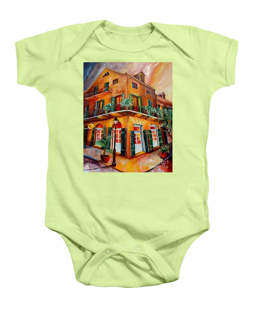 New Orleans Baby Onesie featuring the painting Big Easy Sunset by Diane Millsap