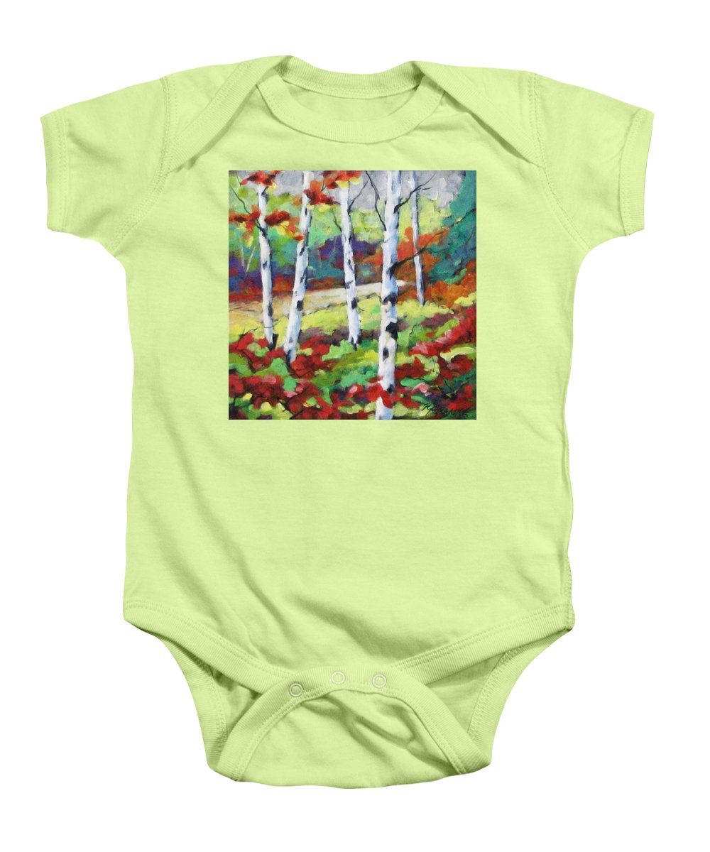 Art Baby Onesie featuring the painting Birches 07 by Richard T Pranke