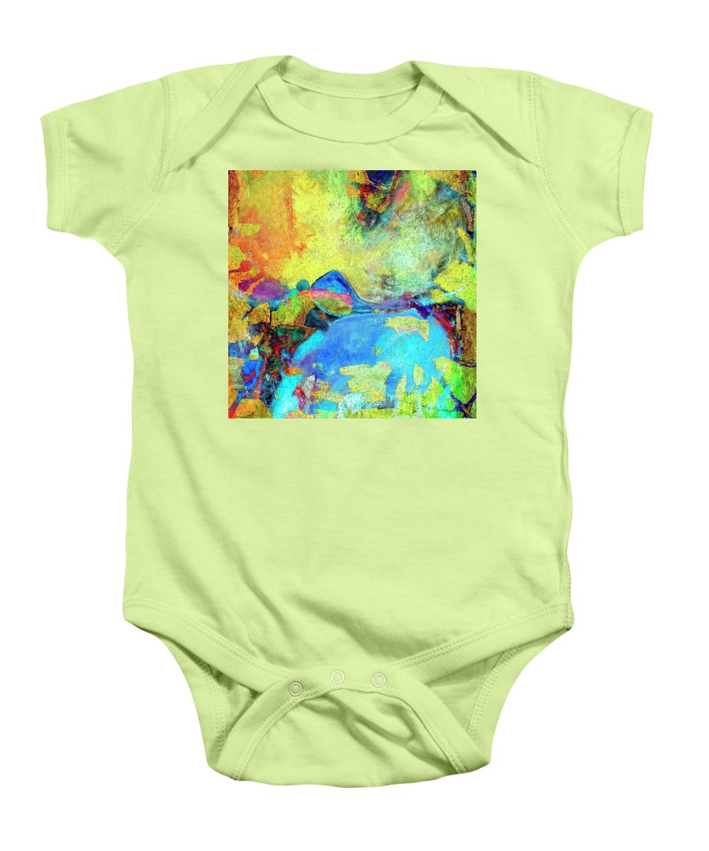 Abstract Baby Onesie featuring the painting Birdland by Dominic Piperata