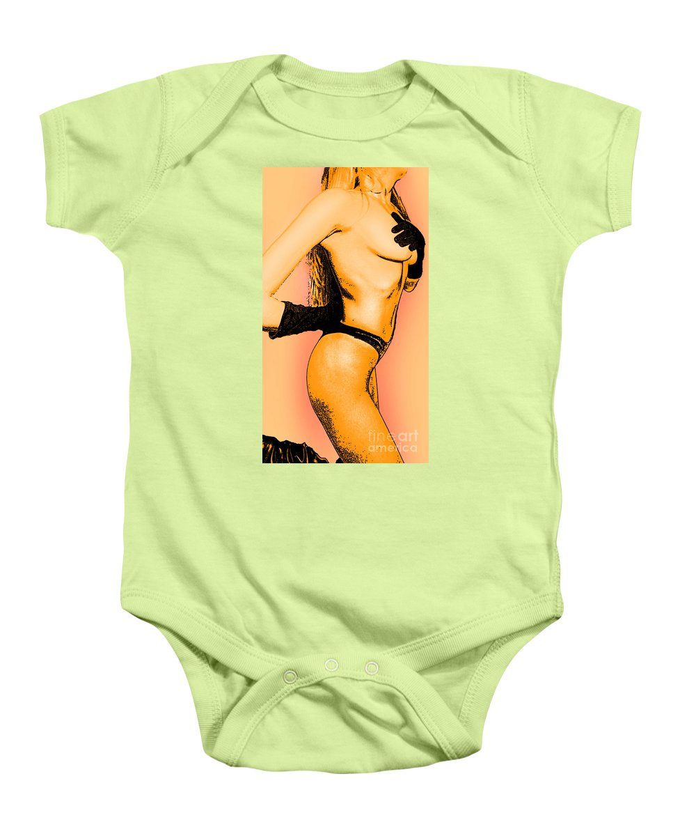 Female Baby Onesie featuring the painting Black Attire by Thomas Oliver