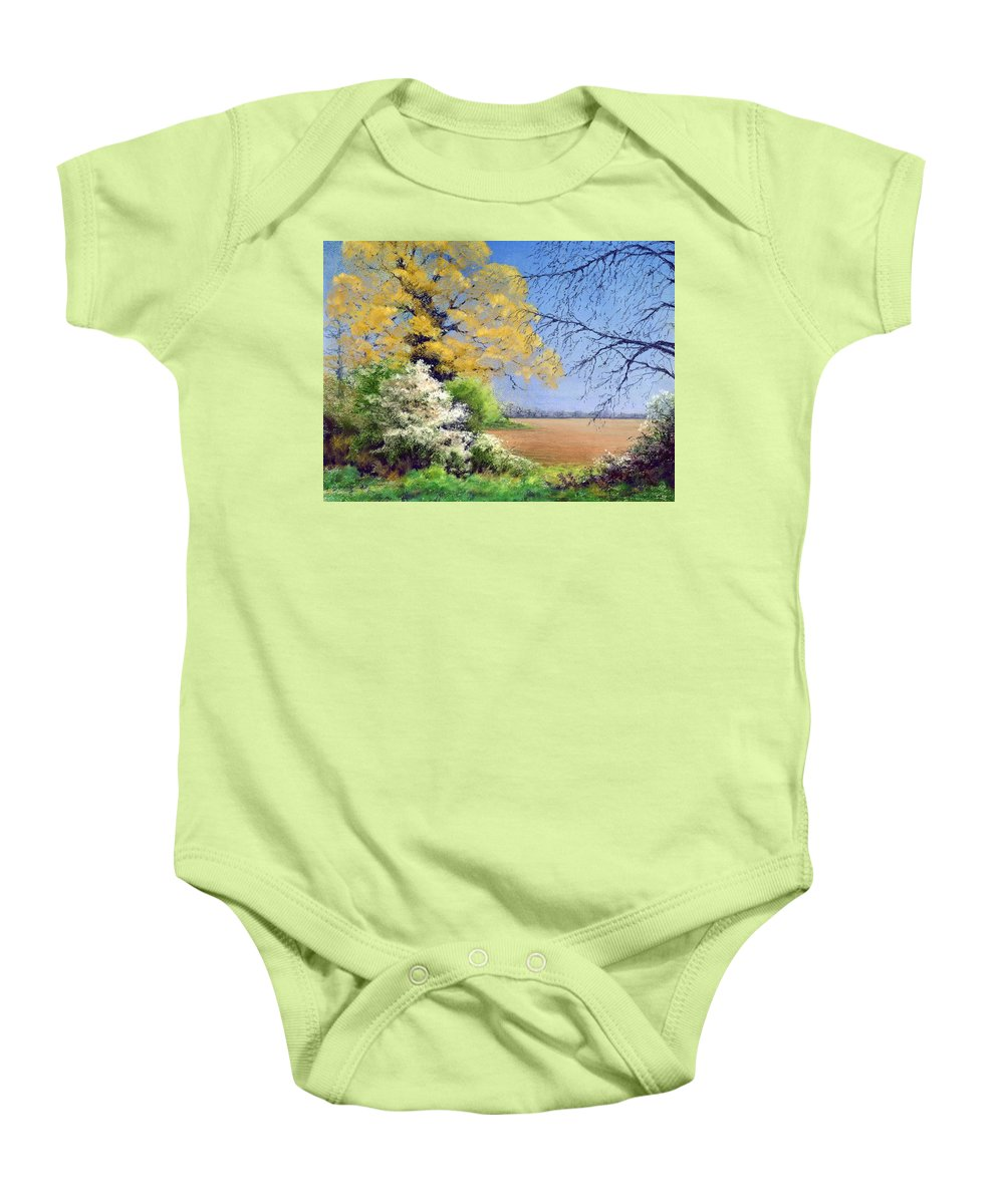 Landscape; Tree; Trees; Field; Nature; Rural; Countryside; Oak Tree; Picturesque; Grass; Blackthorn; Landscape Baby Onesie featuring the painting Blackthorn Winter by Anthony Rule
