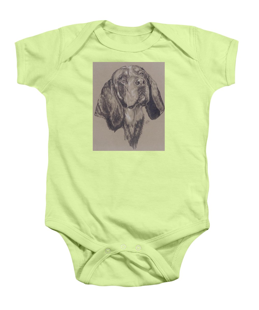 Purebred Baby Onesie featuring the drawing Blue Tick Coonhound by Barbara Keith
