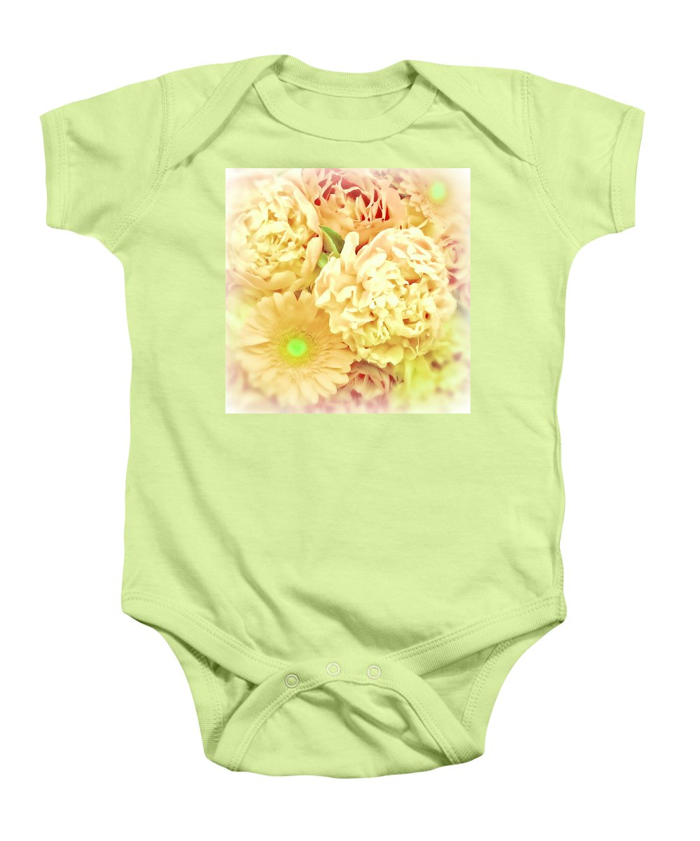 Floral Bouquet Baby Onesie featuring the digital art Blush Floral Bouquet by Mary Pille