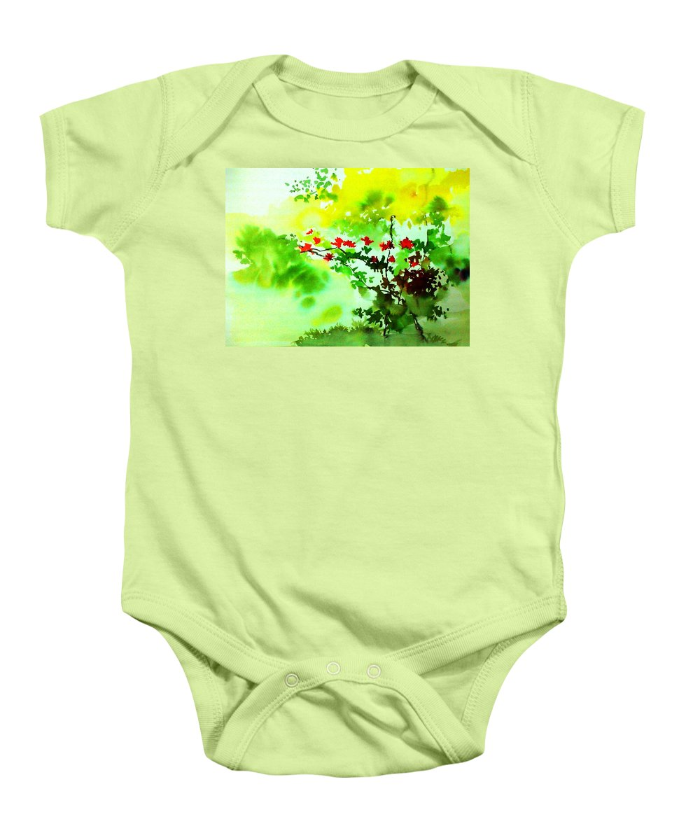 Floral Baby Onesie featuring the painting Boganwel by Anil Nene