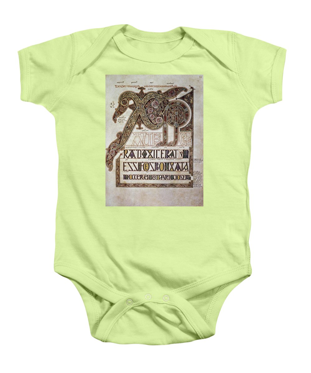 7th Century Baby Onesie featuring the photograph Book Of Lindisfarne Initial by Granger