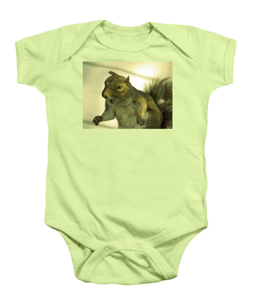 Squirrel Baby Onesie featuring the photograph Bossy Squirrel by Angelcia Wright