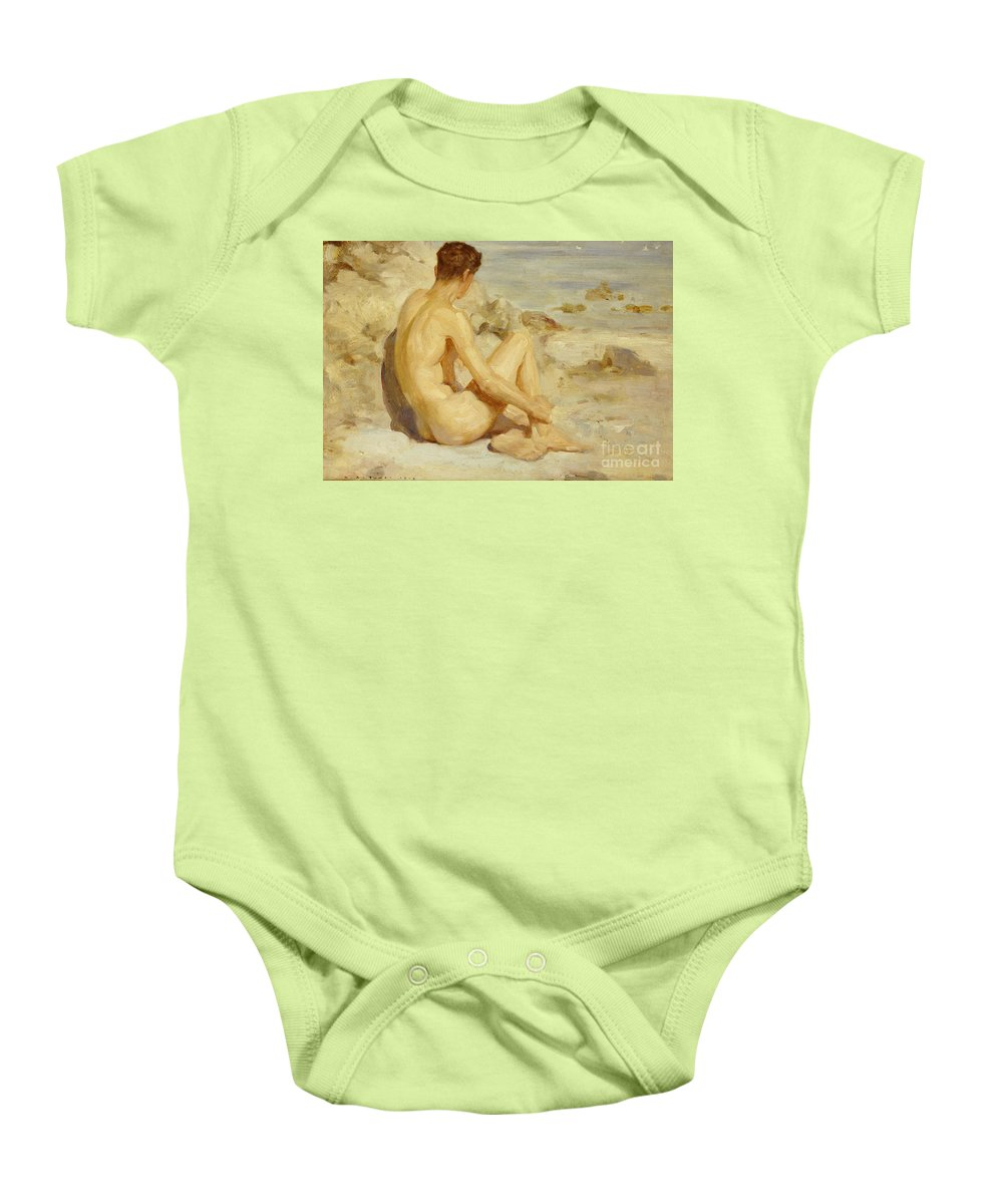 Male; Nude; Seated; Back; View; Sand; Model; Seashore; Boy On A Beach Baby Onesie featuring the painting Boy On A Beach by Henry Scott Tuke