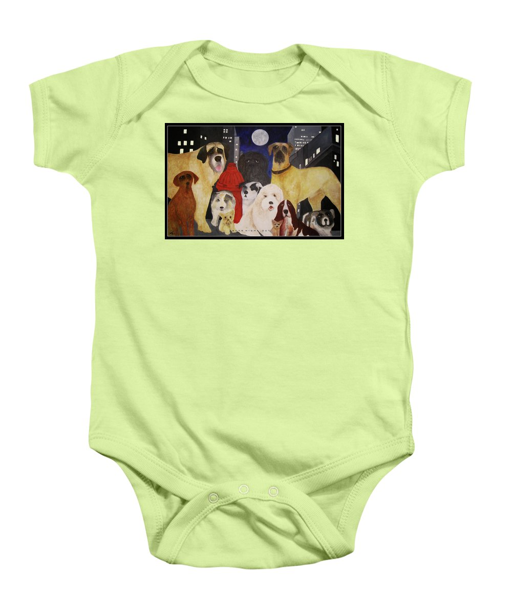 Dogs Baby Onesie featuring the painting Boys Night Out by Larry Rice