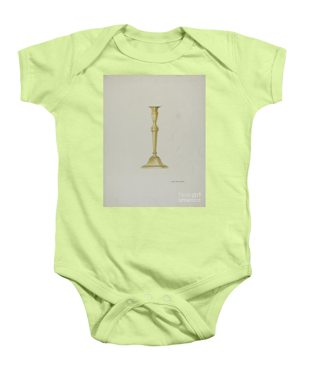 Baby Onesie featuring the drawing Brass Candlestick by Harry Mann Waddell