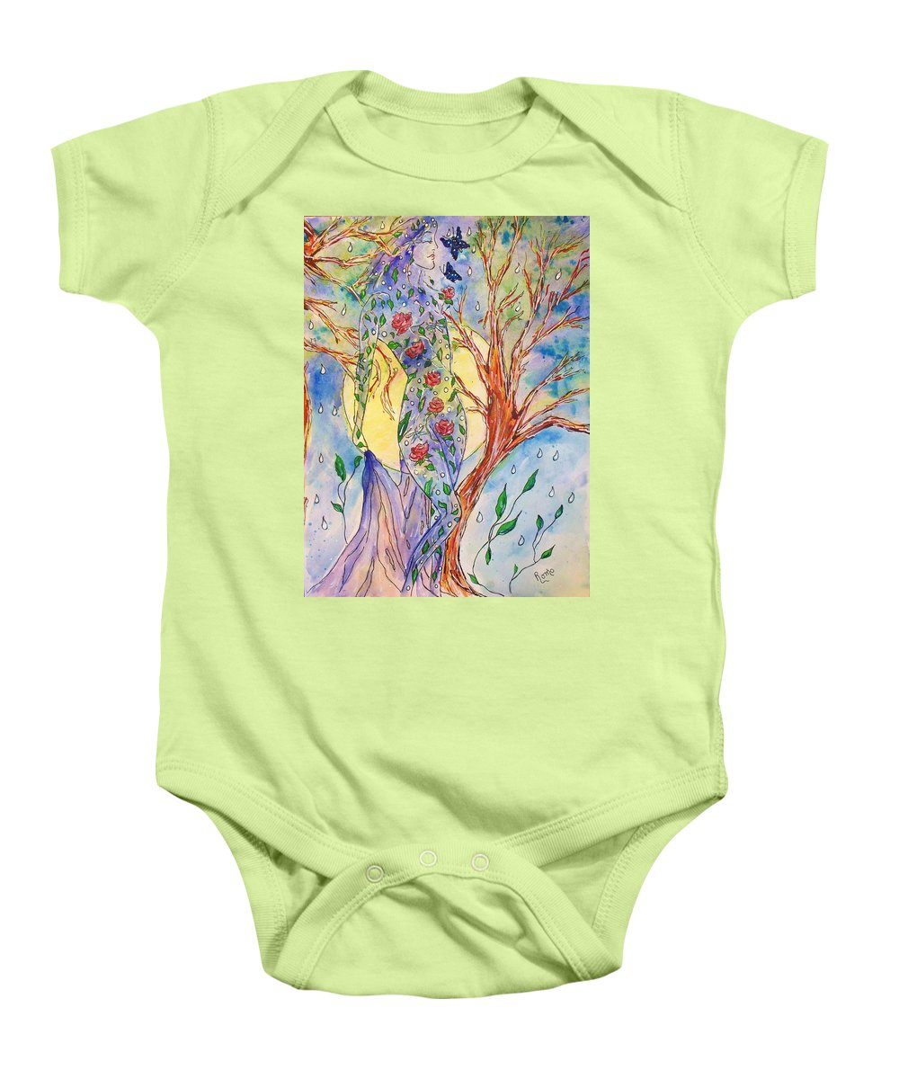 Female Figure Baby Onesie featuring the painting Breath Of Life by Robin Monroe
