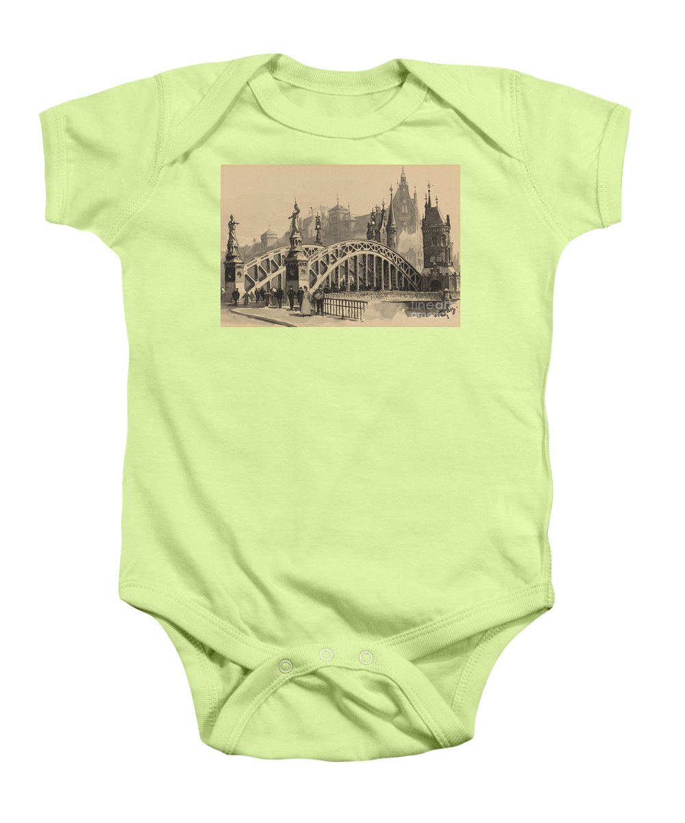 Baby Onesie featuring the drawing Brooksbrucke by Fritz Stoltenberg