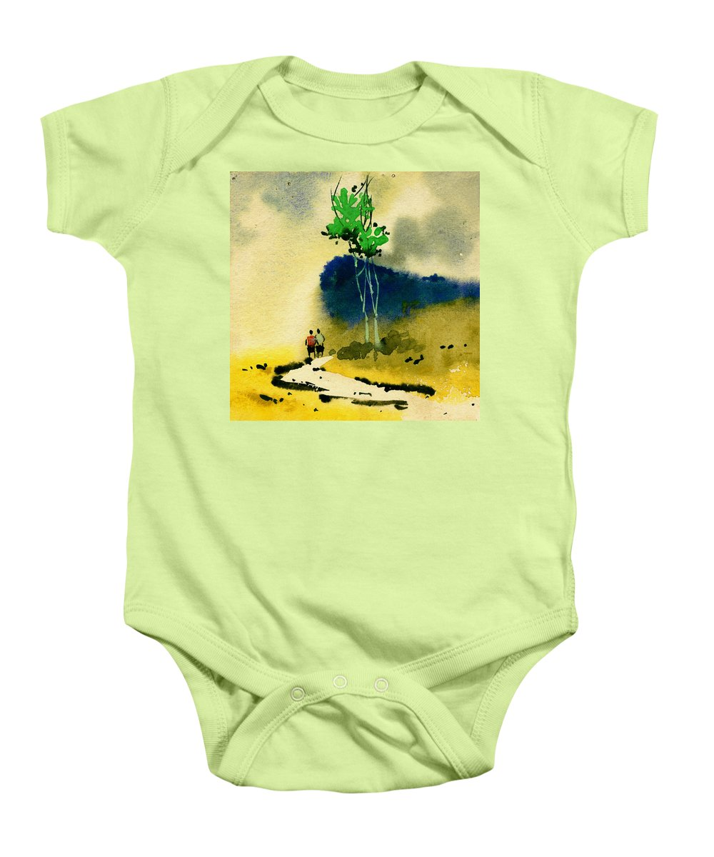 Landscape Baby Onesie featuring the painting Buddies by Anil Nene