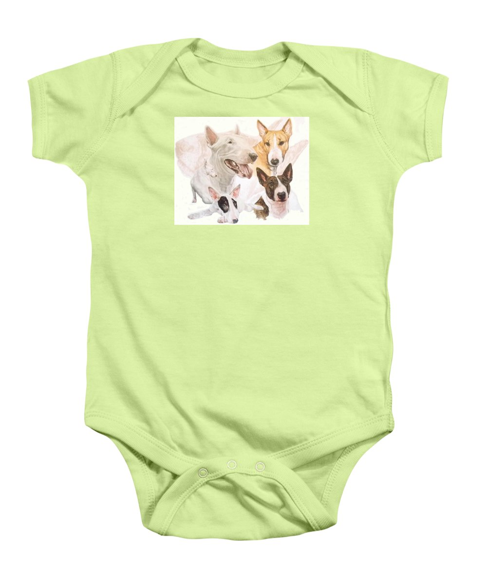 Purebred Baby Onesie featuring the mixed media Bull Terrier W/ghost by Barbara Keith