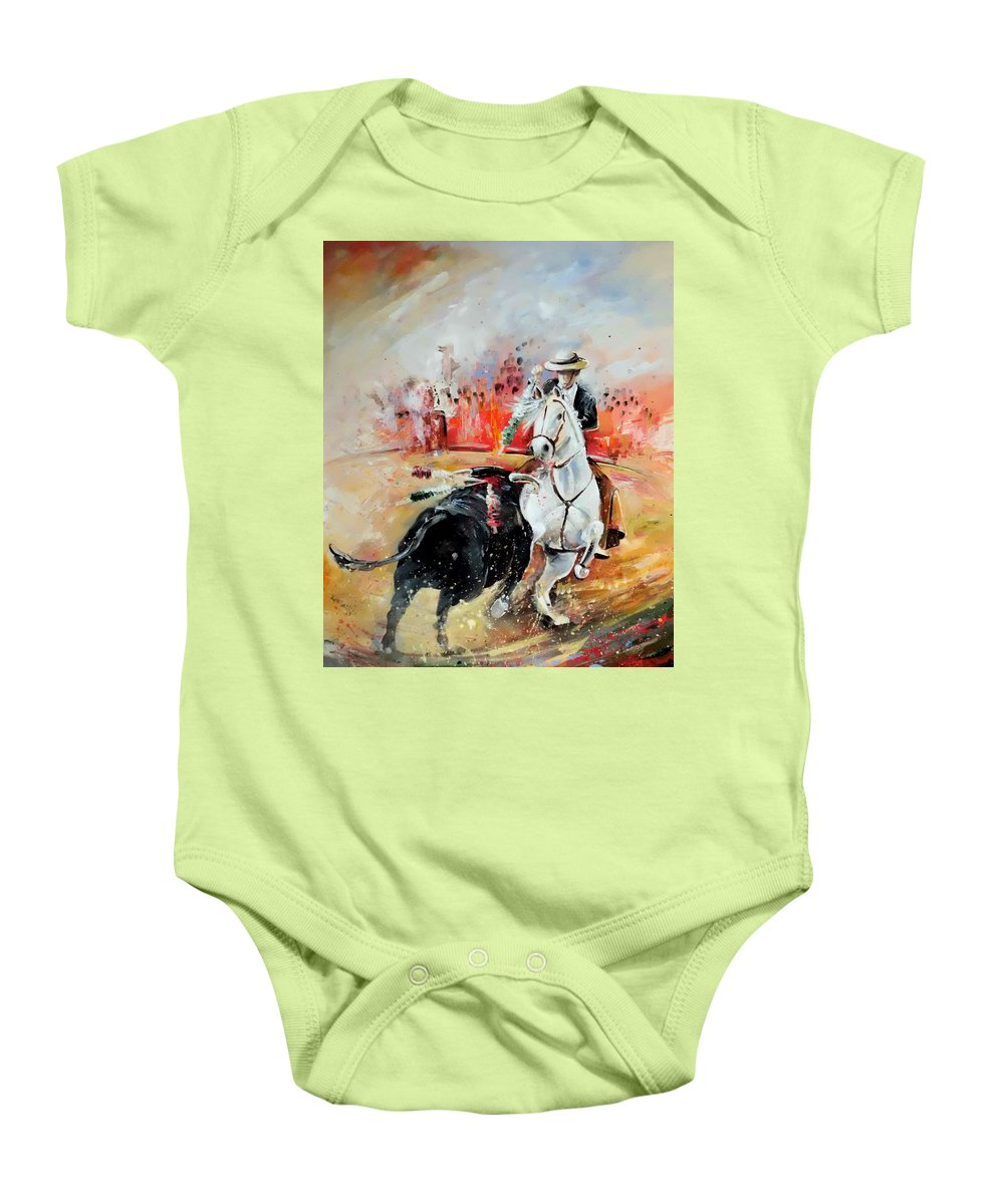Toros Baby Onesie featuring the painting Bullfight 3 by Miki De Goodaboom