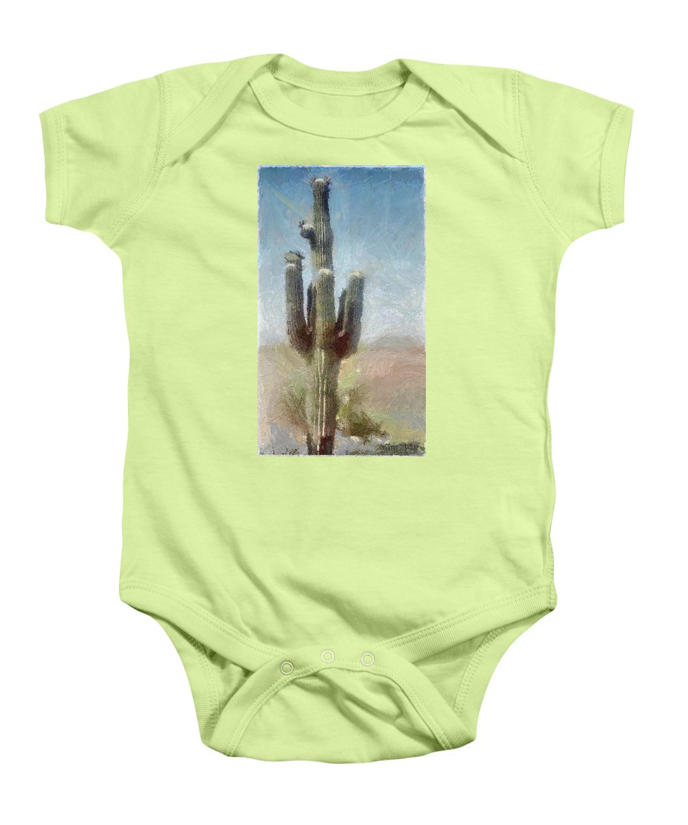 Phoenix Baby Onesie featuring the painting Cactus by Jeffrey Kolker