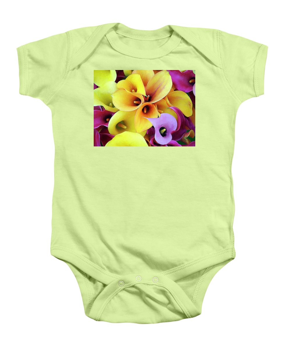 Flowers Baby Onesie featuring the painting Calla Lilies by Dominic Piperata