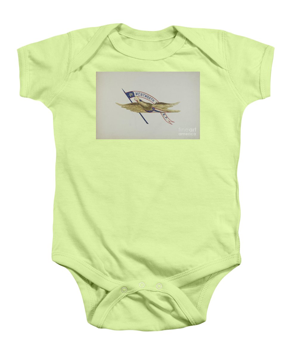Baby Onesie featuring the drawing Carved Eagle by Alice Cosgrove